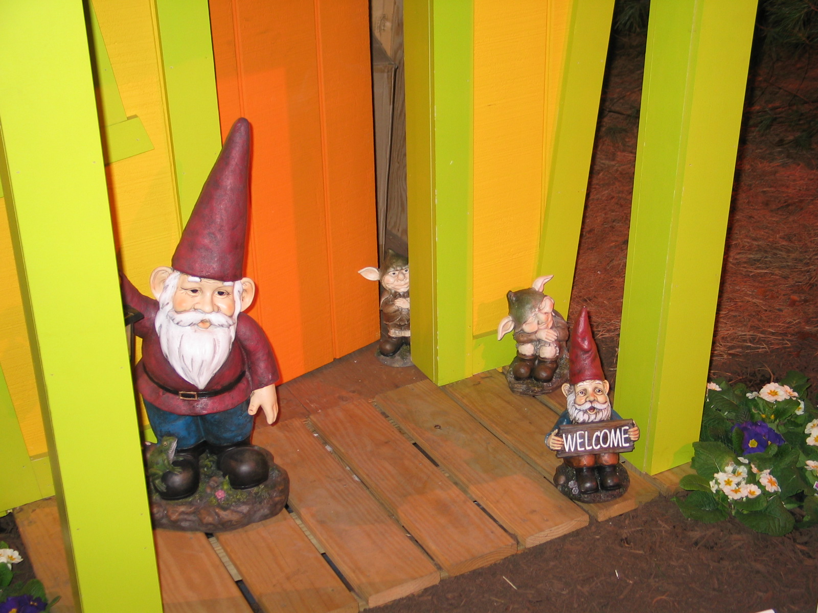 Gnomes stand guard at this garden display at the Rhode Island Flower Show last week.