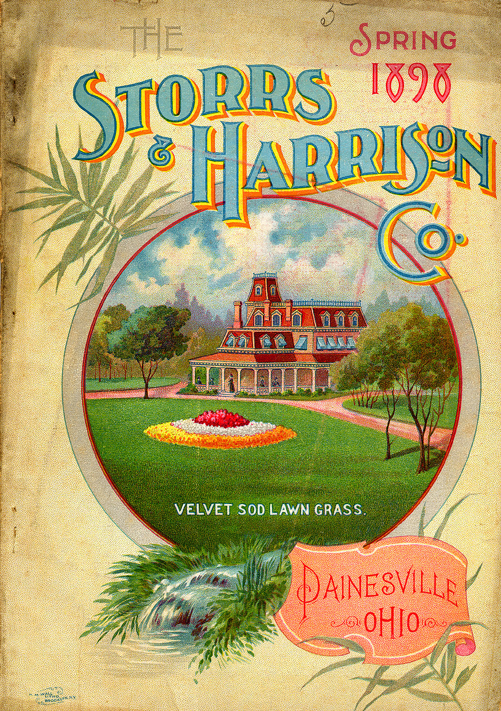 Storrs and Harrison catalog cover of 1898 shows the lawn as the center.